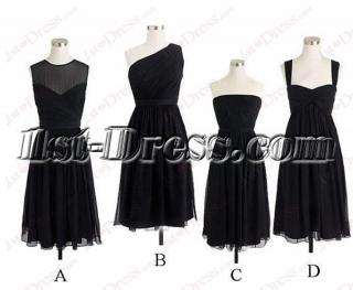 Cheap Black Short Chiffon Bridesmaid Dresses