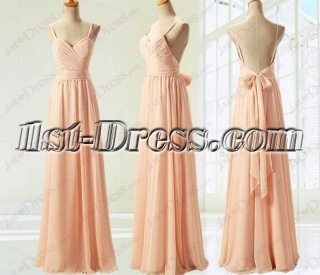 Coral Backless Beach Bride Honor Dress