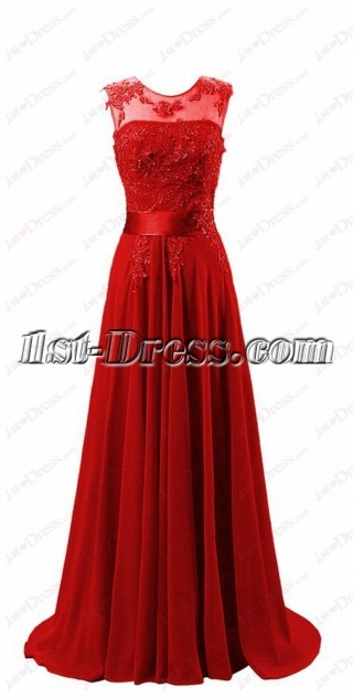 Elegant Red illusion Mother of Bride Dress