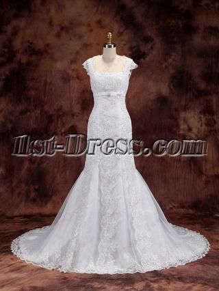 Modest Sheath Lace Wedding Dress 2016 with Keyhole