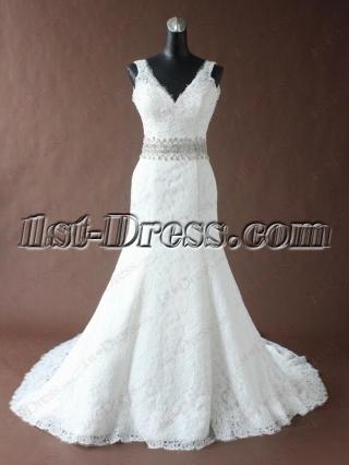 Pretty V-neckline Sheath Lace Mermaid Bridal Gown 2016