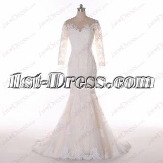 Princess 3/4 Long Sleeves Lace Wedding Dress