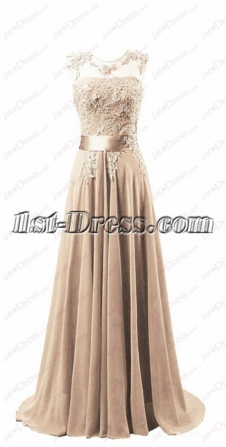 Romantic Champagne Illusion Mother of Bride Dress