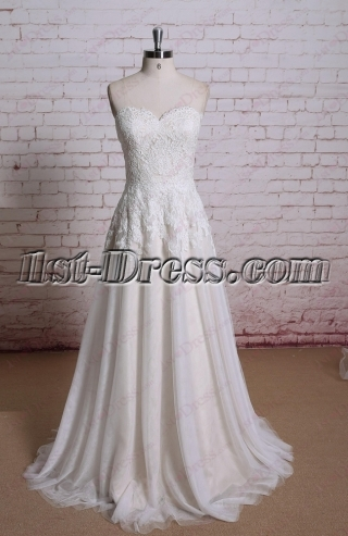 Simple Lace A-line Wedding Dress 2016