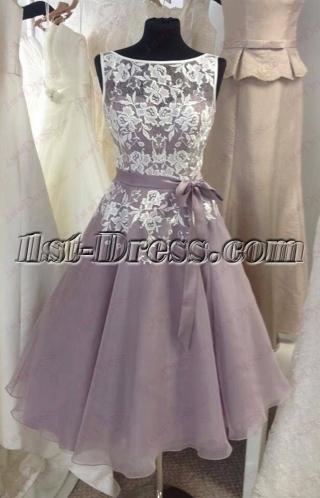 Vintage Silver Short Prom Dress