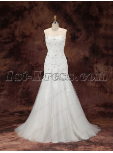 2016 Sheath Lace Bridal Gown with Train