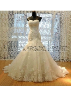 2016 Strapless Lace Trumpet Wedding Dress