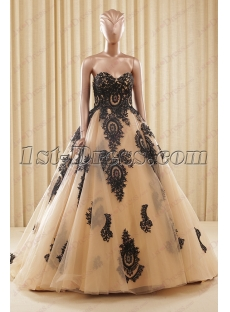 Beautiful Champagne and Black Ball Gown Wedding Dress 2016