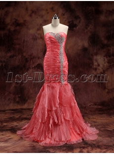 Charming Coral Sweetheart Formal Evening Gown