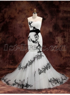 Charming White and Black Mermaid Wedding Dress