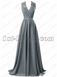 Grey Open Back Chiffon Celebrity Formal Gown
