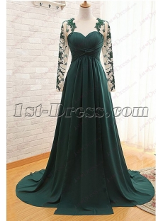 Modest Hunter Green Long Sleeves Evening Gown 2016