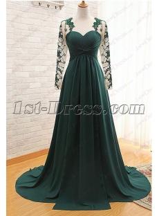Modest Hunter Green Long Sleeves Evening Gown 2016