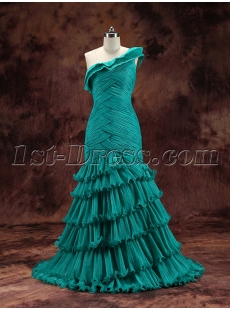 Pretty Teal One Shoulder Evening Dress 2016