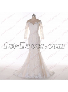 Princess 3/4 Long Sleeves Lace Wedding Dress