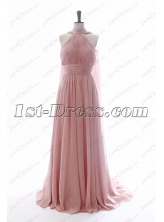 Romantic Pink Evening Dresses with Keyhole
