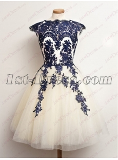 Short Champagne Sweet 16 Dresses with Black Appliques