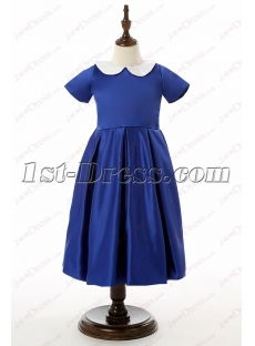 Sweet Royal Blue Short Flower Girl Dress