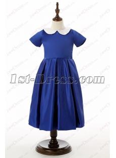 Sweet Royal Blue Short Flower Girl Dress