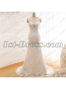 Vintage Sheath Bateau Mature Lace Wedding Dress