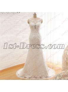 Vintage Sheath Bateau Mature Lace Wedding Dress