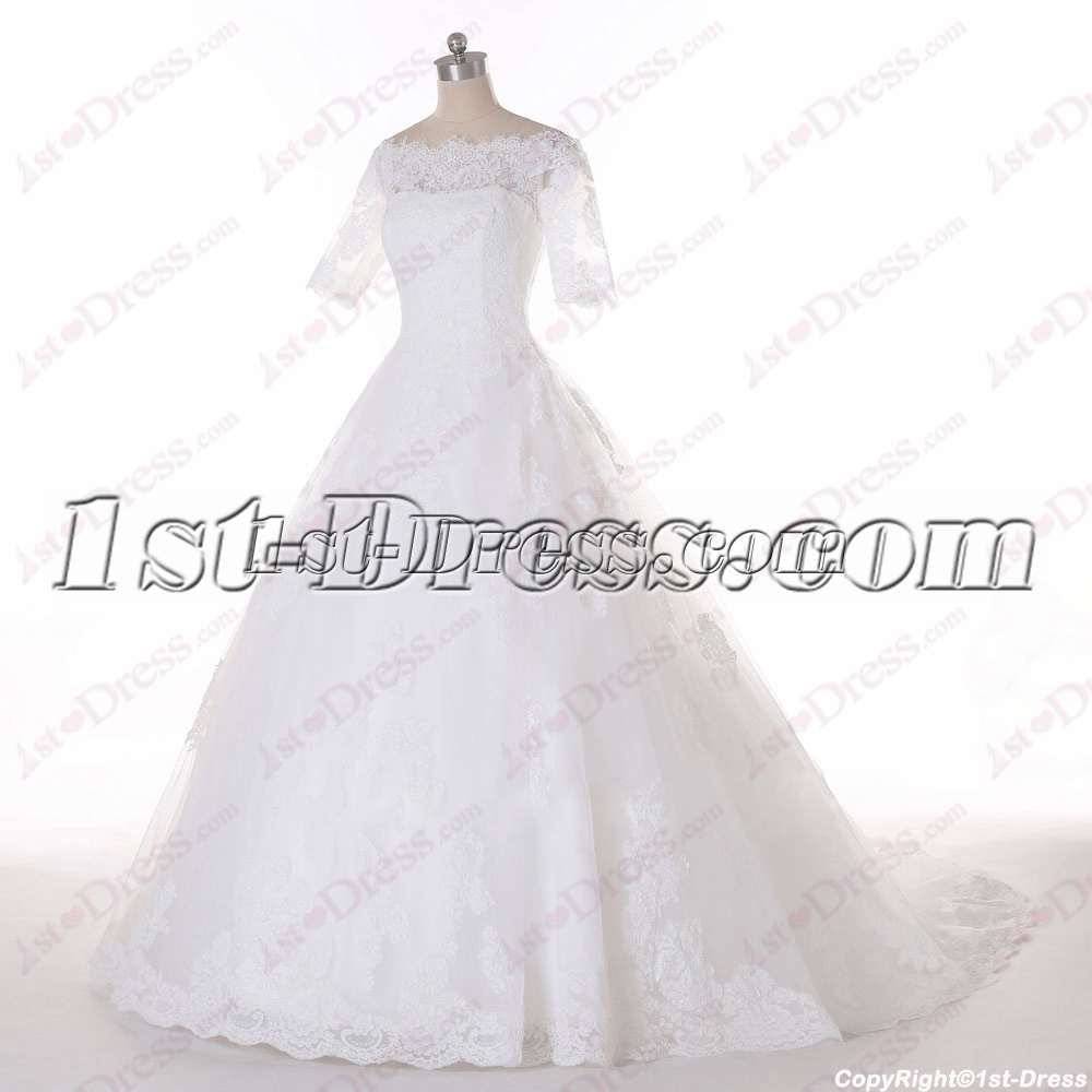 2016 modest short lace sleeves wedding dress 1st for Modest lace wedding dresses