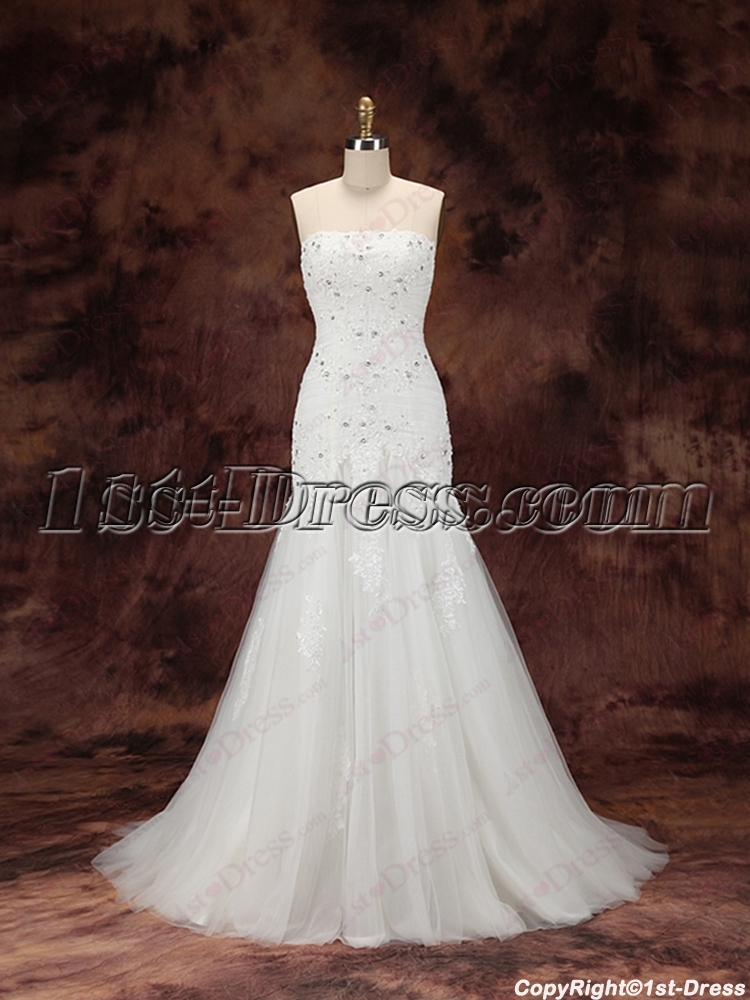 2016 Sheath Lace Bridal Gown With Train 1st Dress Com