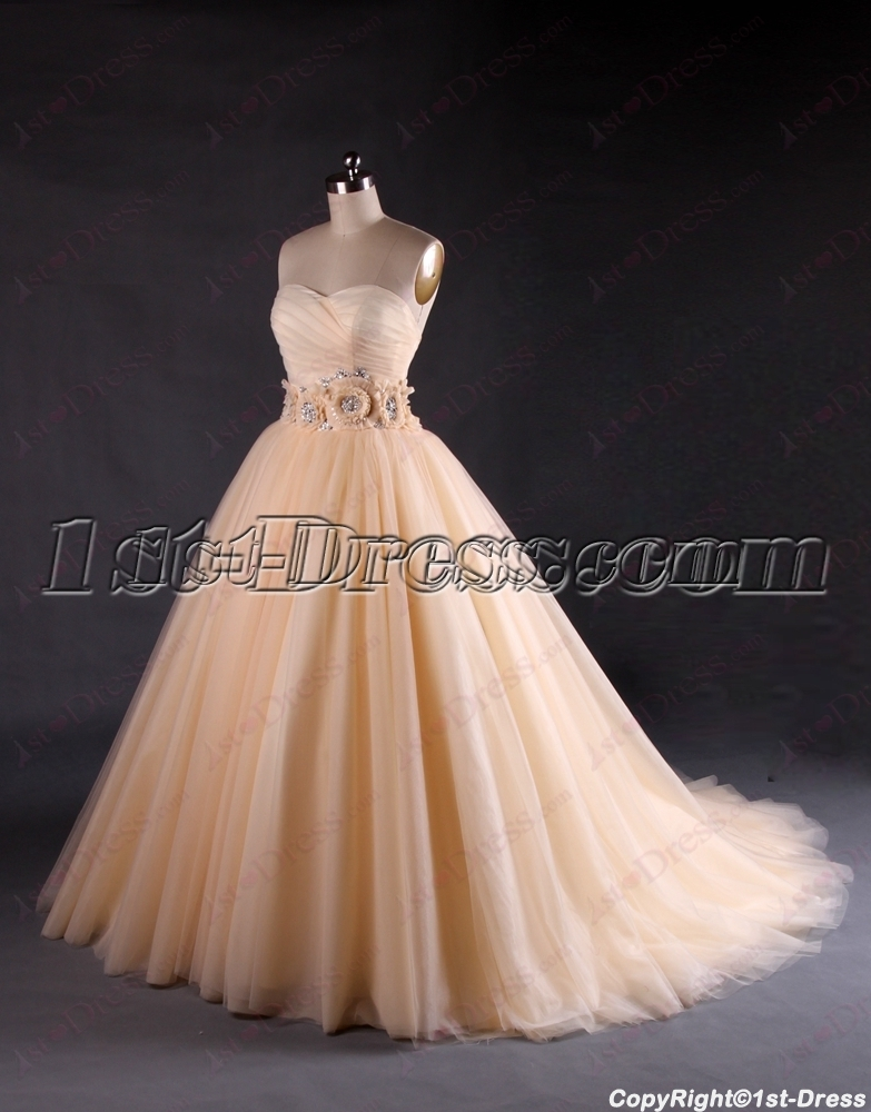 Beautiful sweetheart champagne wedding dresses 1st for Wedding dresses for bridesmaid