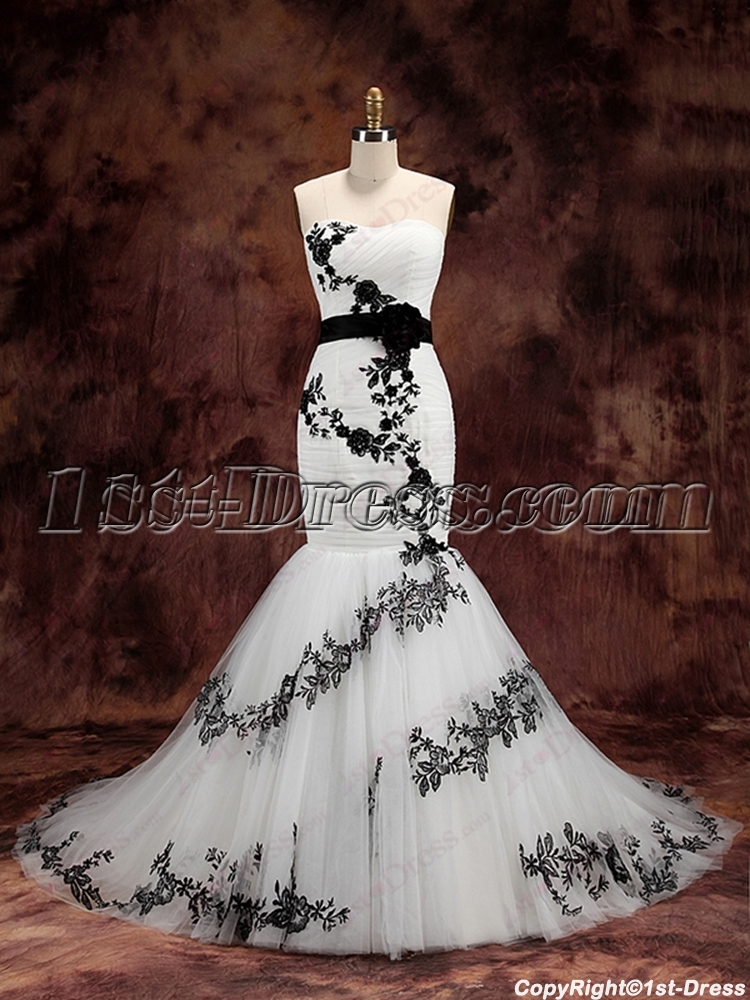 Charming white and black mermaid wedding dress 1st for Black mermaid wedding dresses