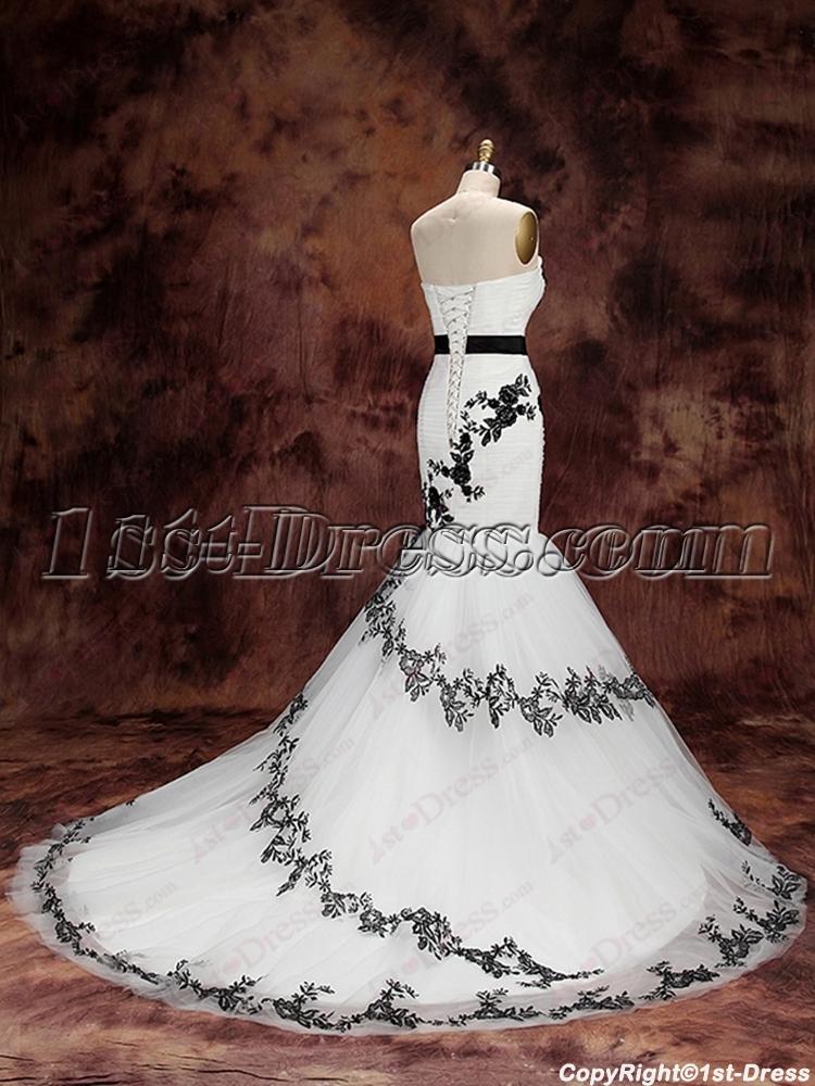 51ba9b6c576c3 Charming White and Black Mermaid Wedding Dress (Free Shipping)