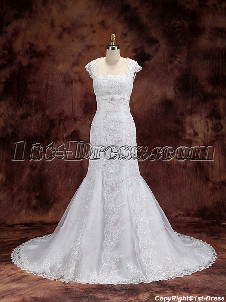 Modest Sheath Lace Wedding Dress 2016 With Keyhole 1st