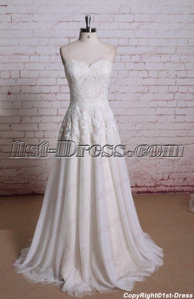 Simple lace a line wedding dress 2016 1st for Plain a line wedding dress