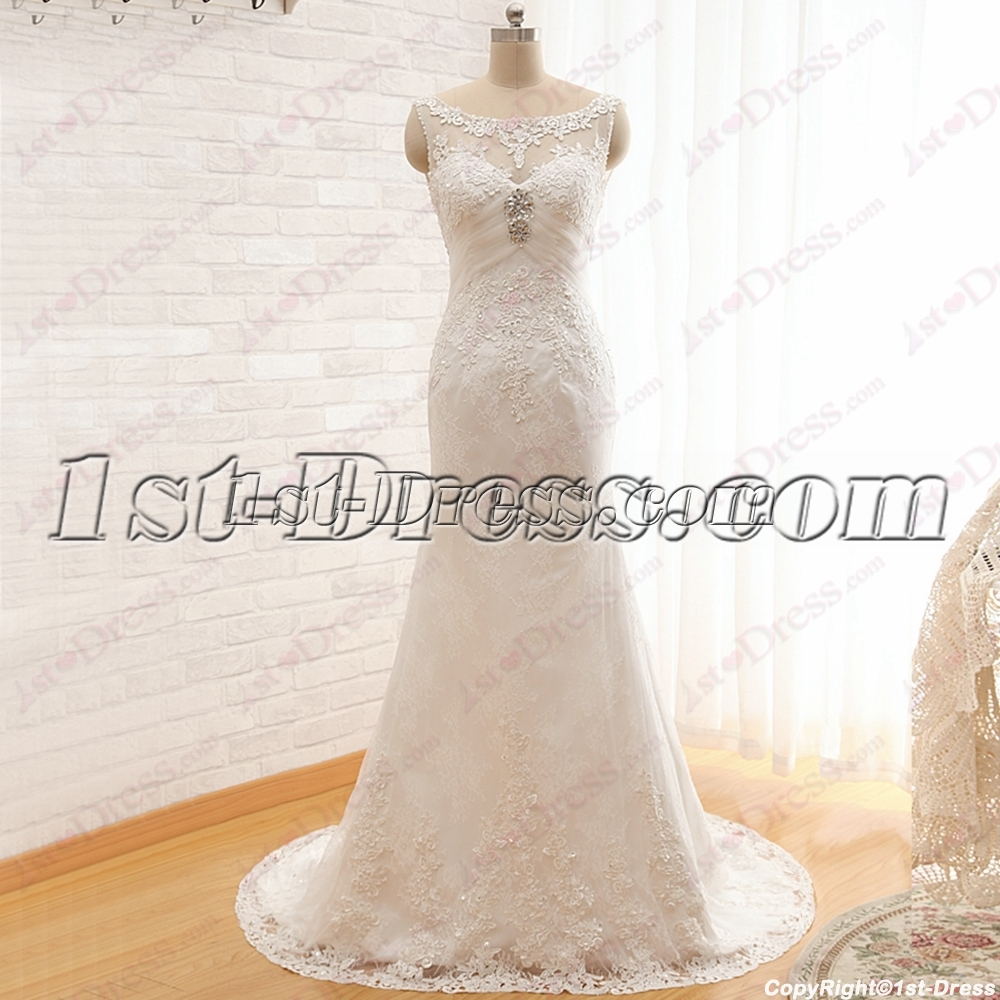 Vintage Wedding Dresses Utah: Vintage Sheath Bateau Mature Lace Wedding Dress:1st-dress.com