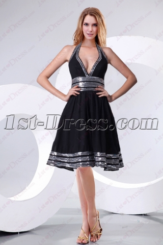 Beautiful Halter Black Homecoming Dress