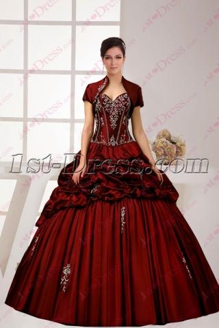 Charming 2016 Burgundy Quinceanera Ball Dress