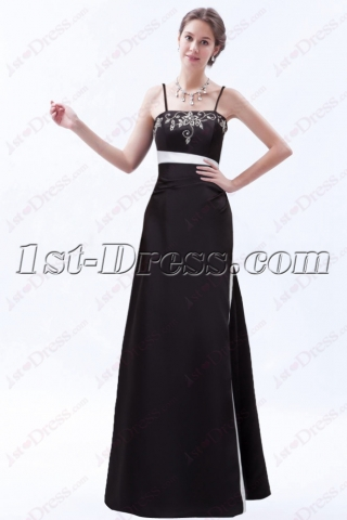 Elegant Black Bridesmaid Dress with White Embroidered