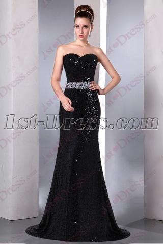Elegant Sweetheart Black Sequin Prom Dress 2016