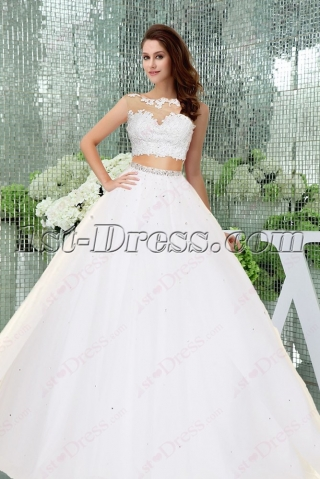 Fantastic 2 Pieces White Quinceanera Dress 2016