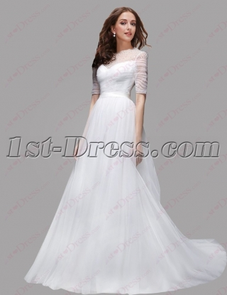 Modest Long Sleeves Lace Bridal Gown 2016