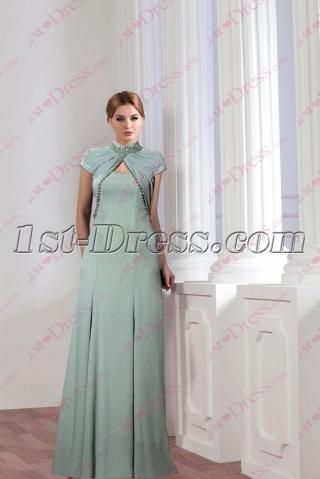 Modest Sage Mother of Groom Dress