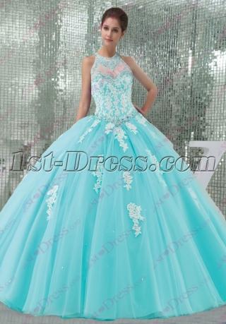 Pretty Blue Tulle Halter 2016 Quinceanera Dress