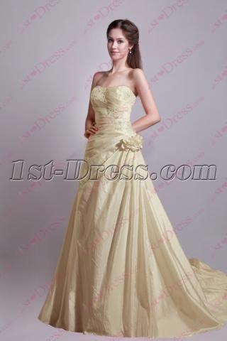 Pretty Champagne Taffeta A-line Princess Bridal Gown