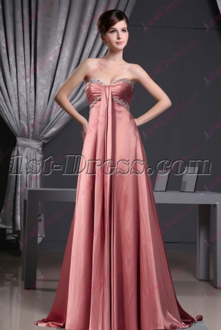 Romantic Coral Empire Strapless Prom Dress 2016