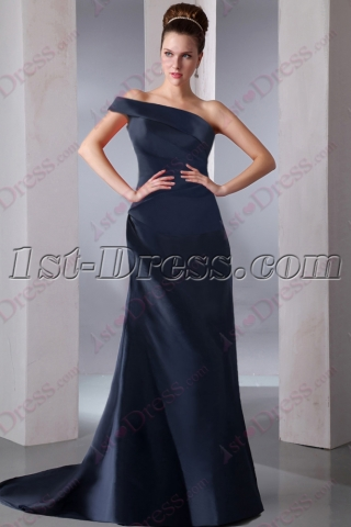 Romantic Navy Blue One Shoulder Prom Dress 2016