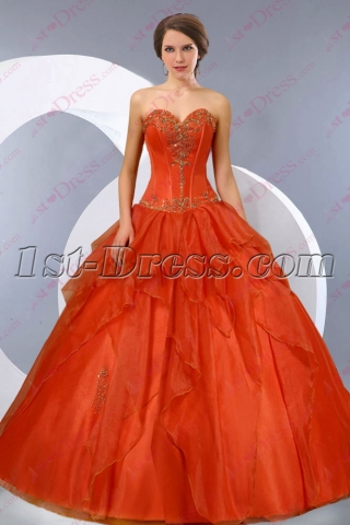 Romantic Orange Strapless 2016 Quince Dress