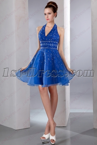 Royal Blue Halter Beaded Short Prom Dress 2016