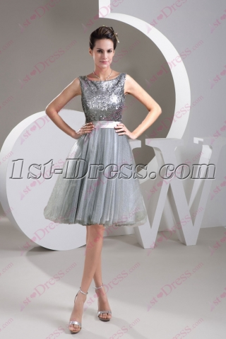 Simple Silver Sequins Prom Dress 2016