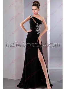 2016 Black One Shoulder Slit Prom Dress