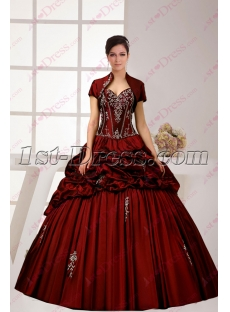 Charming 2016 Burgundy Quinceanera Ball Dress