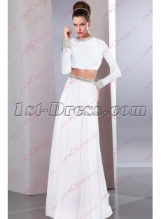 Charming White 2 Pieces Long Sleeves Sexy Evening Gown